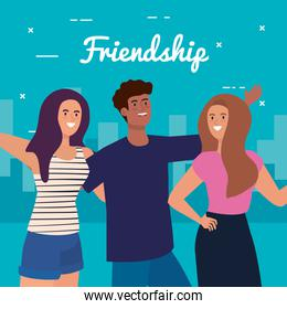 happy characters, young women with man, friendship excitement, cheerful laughing from happiness in cityscape