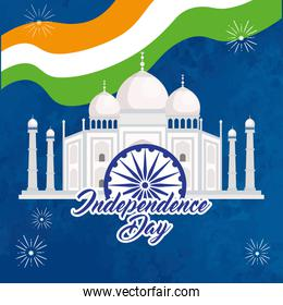 indian happy independence day with taj mahal, monument traditional and decoration