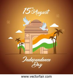 indian happy independence day, celebration 15 august, with gate monument and flag of india