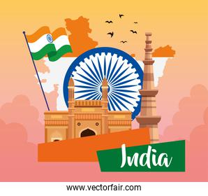indian happy independence day, ashoka chakra with flag and monuments