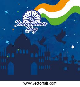 indian happy independence day, silhouette of monuments and decoration