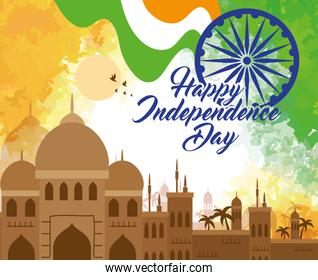 indian happy independence day, monuments and decoration