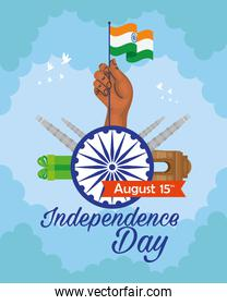 indian independence day, celebration 15 august, with ashoka chakra and traditional monuments