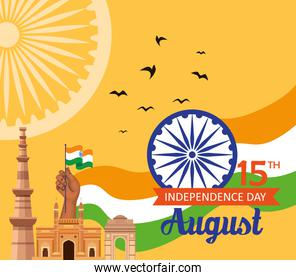 indian happy independence day, celebration 15 august, with monuments traditional and ashoka chakra