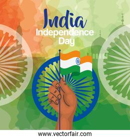 indian happy independence day, ashoka chakra and hand with flag