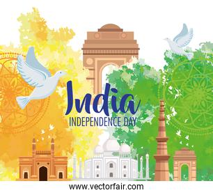 indian happy independence day, monuments traditional and dove flying