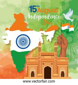 indian happy independence day, celebration 15 august, with gateway and map of india