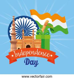 indian happy independence day, ashoka chakra with icons traditionals india
