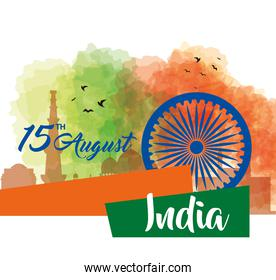 indian happy independence day, celebration 15 august, with ashoka chakra and decoration