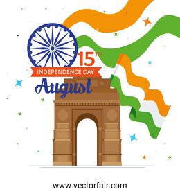 indian happy independence day, celebration 15 august, with gate monument and flags of india