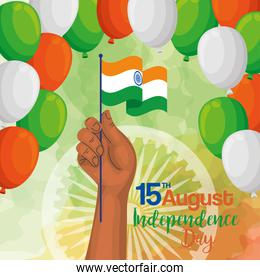 indian happy independence day, balloons helium decoration and hand with flag
