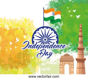 indian happy independence day, monuments traditional and decoration