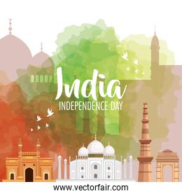 indian happy independence day with monuments traditional