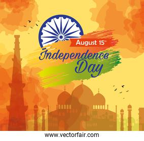 indian happy independence day, celebration 15 august, with silhouette of monuments traditional