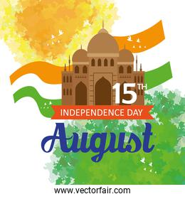 indian happy independence day, celebration 15 august, with monument traditional and flag