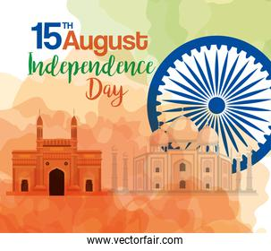 indian happy independence day, celebration 15 august, with monuments traditional and decoration
