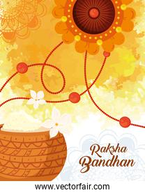 greeting card with decorative rakhi and holy powder for raksha bandhan, indian festival for brother and sister bonding celebration