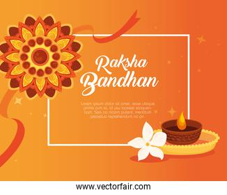 greeting card with decorative rakhi and candle light for raksha bandhan, indian festival for brother and sister bonding celebration