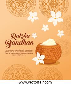 greeting card with decorative holy powder for raksha bandhan, indian festival for brother and sister bonding celebration