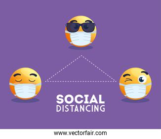social distancing emoji wearing medical mask, yellow faces in public social distancing for covid 19 prevention