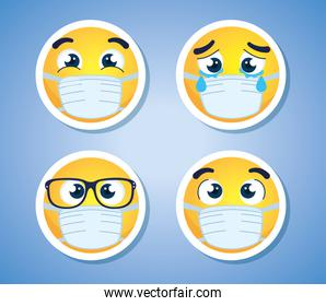 set emojis wearing medical mask, faces emojis wearing surgical mask icons