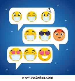 set emojis in speech bubbles, balloons text with faces emojis chat icons