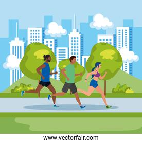 people jogging in landscape, men and woman running outdoor, people in sportswear jogging in park nature