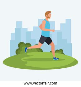 man running in the nature, male athlete running outdoor