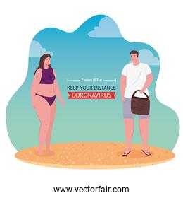 social distancing on the beach, couple keep distance to two meters or six feet, new normal summer beach concept after coronavirus or covid 19