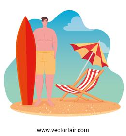 man in shorts with surfboard, chair and umbrella, scene of beach, summer vacation season