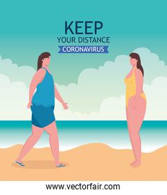 social distancing on the beach, women keep distance, new normal summer beach concept after coronavirus or covid 19