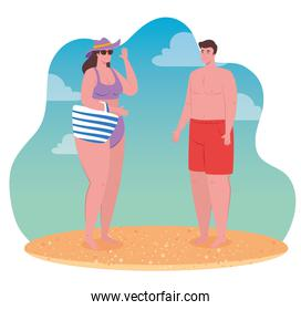 couple on the beach using swimsuit, woman and man in summer vacation design