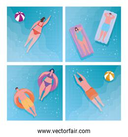 group young people using swimsuit in the lying inflatable float on pool, summer vacation season