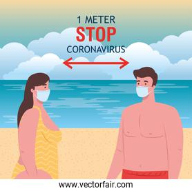 social distancing on the beach, couple keep distance one meter, new normal summer beach concept after coronavirus or covid 19