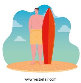 man in shorts, happy guy in swimsuit with surfboard on the beach, summer vacation season