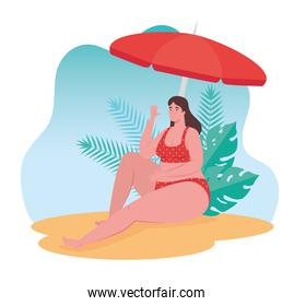 plump woman in swimsuit sitting in the beach, summer vacation season