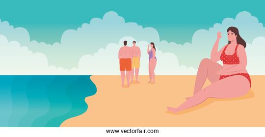 people in swimsuit, men with women in the beach, summer vacation season