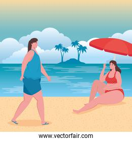 cute plump women with swimsuit on the beach, group friends on the beach, summer vacation season