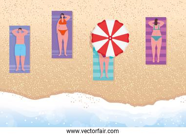 view aerial, people on the beach, women and man sunbathing on the beach, summer vacation season