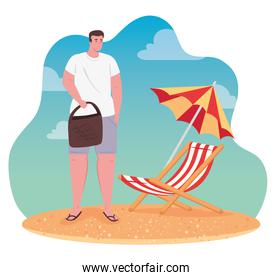man in the beach, happy guy with chair beach and umbrella, summer vacation season
