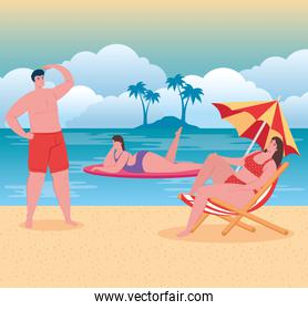 beach with people, man and women on the beach, summer vacations and tourism concept