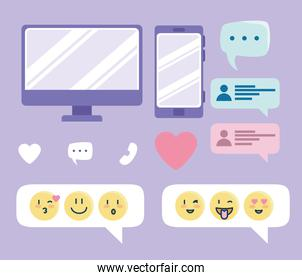 set icons, online dating service collection elements