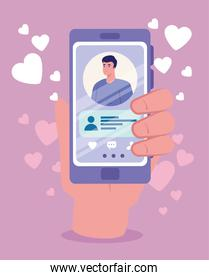 online dating service application, hand holding smartphone with man profile, modern person looking for couple, social media, virtual relationship communication concept
