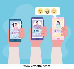 online dating service application, hands holding smartphone with man and woman profiles, modern people looking for couple, social media, virtual relationship communication concept