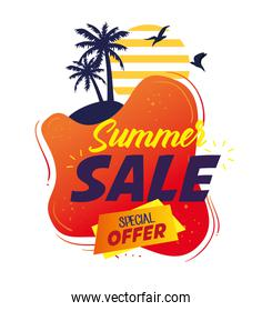 summer sale banner, season discount poster with palms silhouette, invitation for shopping with summer sale special offer label, special offer card