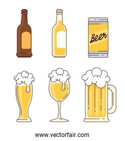 set, bottles, can, glass, cup, mug of beer on white background