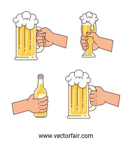 hands holding beers, on white background