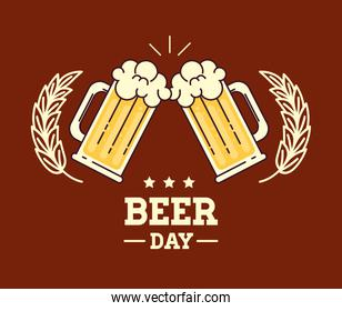 international beer day, august, cheers with beer mugs