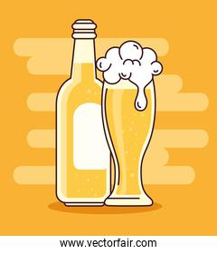 beers in bottle and glass, on yellow background
