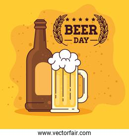 international beer day, august, bottle and mug of beer